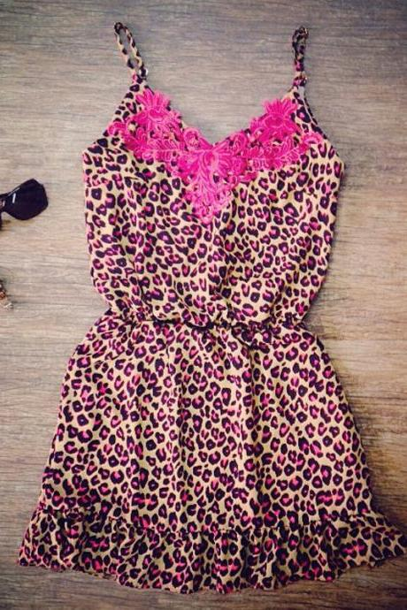 Lace suspenders sexy leopard print dress