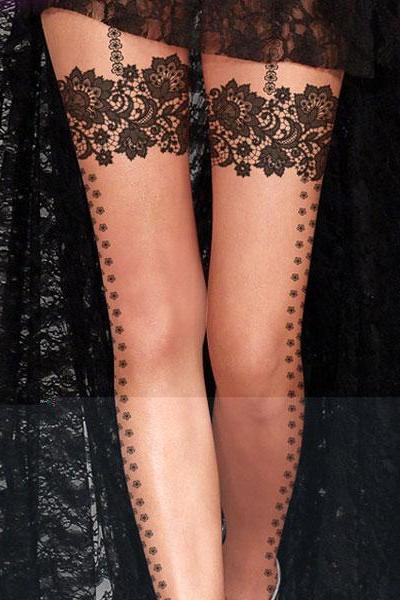 Tattoo Print Silk Stockings/Fake Tights Highs