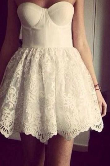 Super Cute Mini Lace Ball Gown Corest Prom Dresses, White Lace mini Homecoming Dresses, Grduation Dresses, Lace Party Dresses