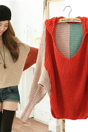 Women wear hooded bat sleeve loose V collar spell color knit Pullover female