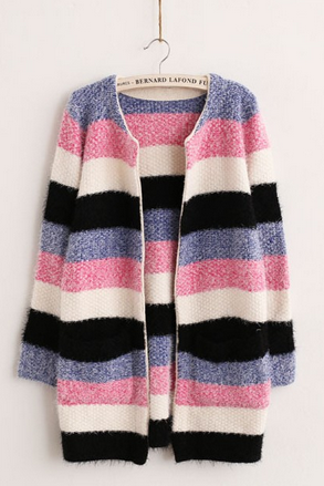 Women in the long section of mohair knitting cardigan dress color stripe hit color sweater loose jacket