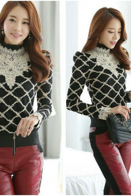 Classy Long Sleeve Black Blouse with Beautiful Lace Detail