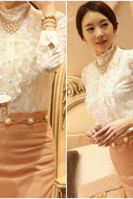 Elegant White Long Sleeve Lace Blouse
