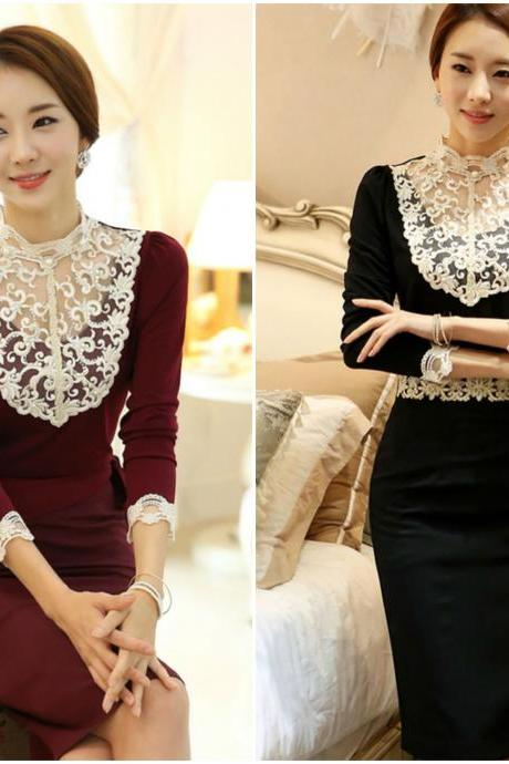 Beautiful Lace Patchwork Design Long Sleeve Blouse
