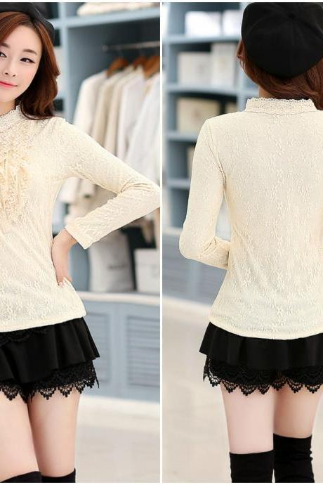 Simply Fabulous Long Sleeve Lace Blouse in Apricot