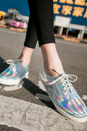 Holographic Lace-Up Flat Sneakers Shoes