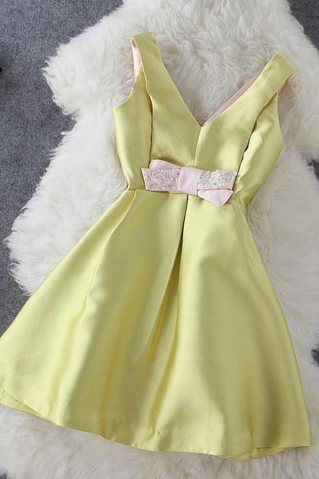 Satin V-Neck A-Line Dress with Sequin Ribbon - Pink / Yellow