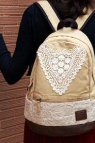 Beige Canvas Backpack With Lace