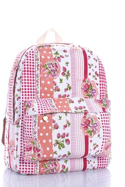 Strawberry Dots And Stripes Printed Backpack 0627028