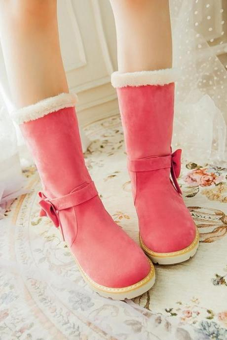 Adorable Pink Bow Embellished Warm Winter Boots