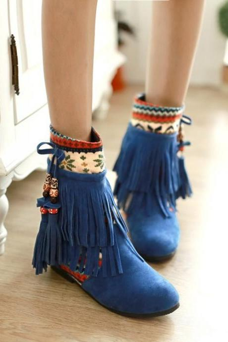 Winter Fashion Round Toe Tassels Design Mid Heel Blue Suede Ankle Boots