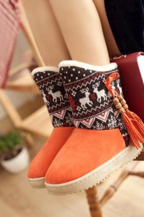 Cute Tassel Decorated Aztec Pattern Low Heel Ankle Boots