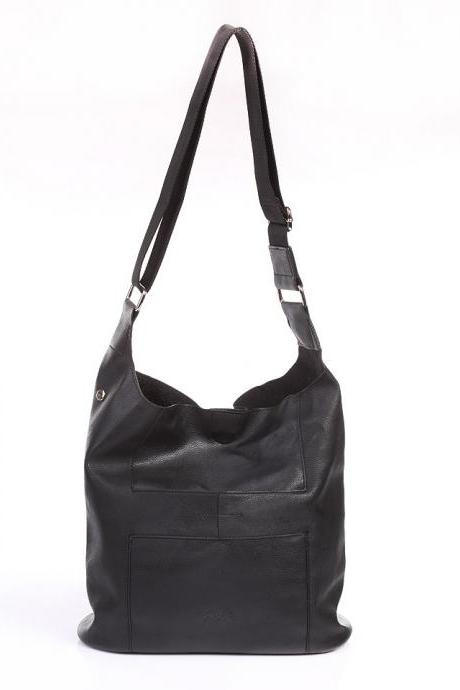 Black Leather Messenger Tote Bag Shoulder Bag Black Leather Handbag Black Purse Leather Purse