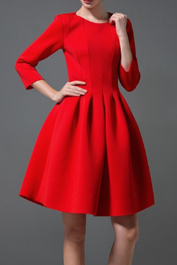 Sweet round neck long-sleeved dress XD112712GJ