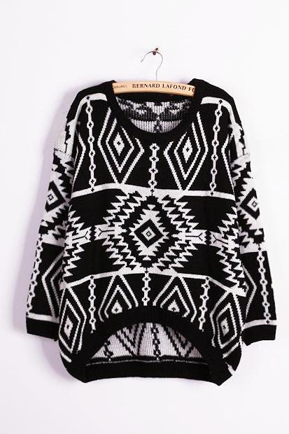 Retro geometric loose big yards sweater