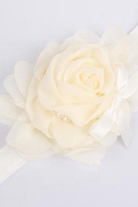 12 Pieces of Satin Rose Headbands Mixed Colors Wholesale