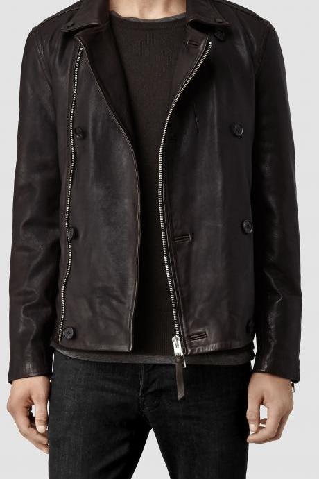 MENS LEATHER JACKET, BROWN BIKER LEATHER JACKETS, MEN'S LEATHER JACKET