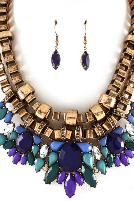 Fashion Blue Necklace, Chunky Bib Statement Necklaces, Colorful Chokers