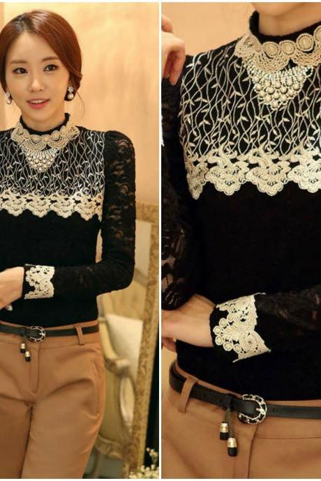Stand Collar Black Long Sleeve Lace Blouse