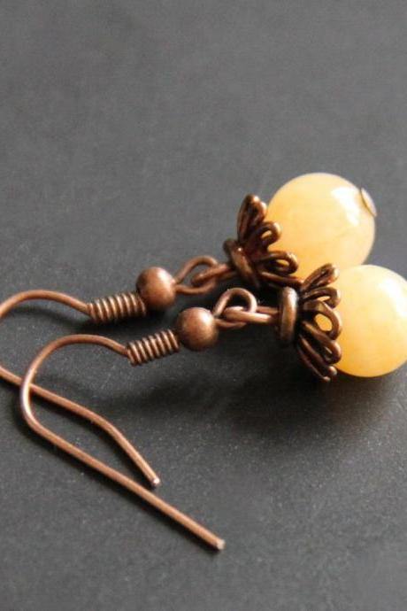 Yellow Jade Earrings Copper