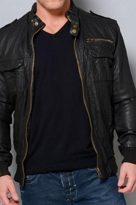 MENS LEATHER JACKET, BLACK BIKER LEATHER JACKETS, MEN'S LEATHER JACKET