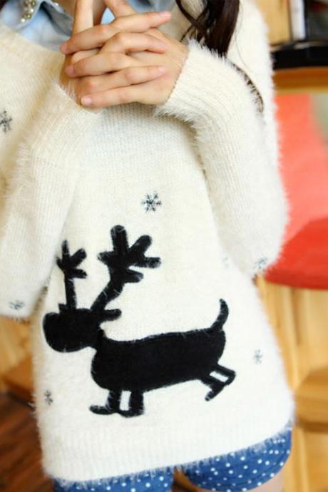 Women Cartoon Print Sweater Pullover Long Sleeve Knitted Knitwear Tops