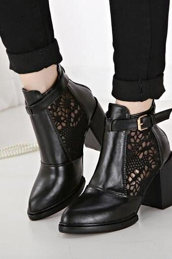 Beautiful Black Boots with Lace Detail