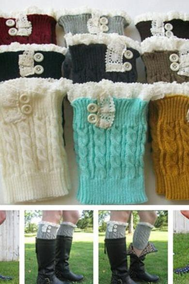 women knit boot cuffs acrylic cable pattern lace boot socks buttons leg warmers bontique accessory knitted gaiters
