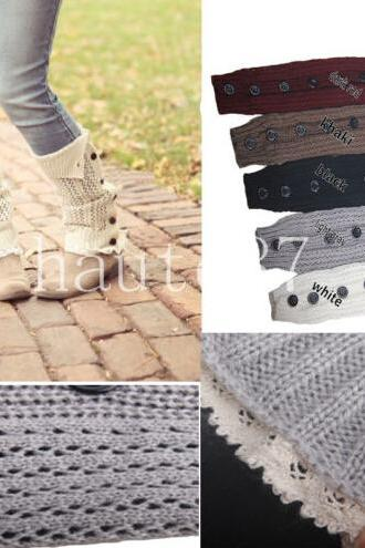Women's Hollow Crochet Knit With Button Leg Warmers Lace Trim Boot Socks Cuffs