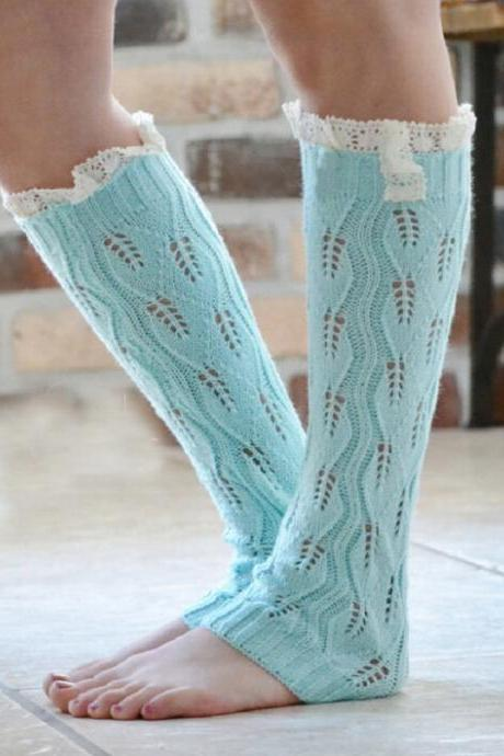 crochet Woolen hollow out buttons lace boots set of leg warmers woman Knit leg set of knee