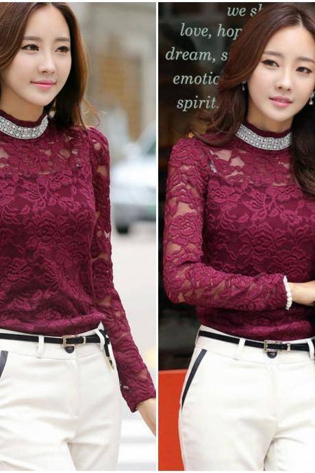 Wine Red Beautiful Lace Blouse