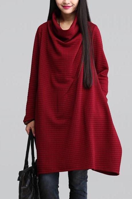 Red Cowl Neck Loose Dress A Line Long Sleeve Blouse For Women SD078