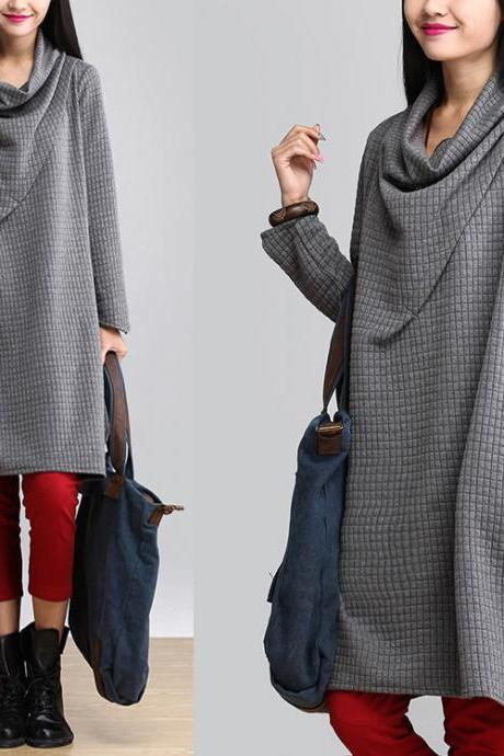 Cowl Neck Grey Oversize Dress Plaid Loose Blouse Top For Women SD078-1