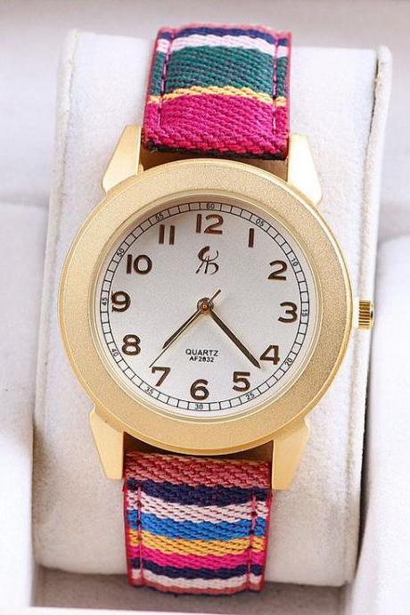 Teen colorful cloth strap unique unisex watch