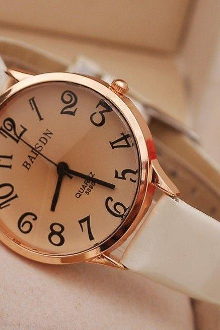 Casual leather unisex lady watch