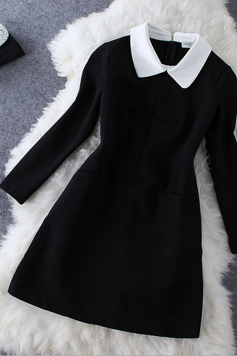 Women's fashion temperament white collar black long sleeved dress doll