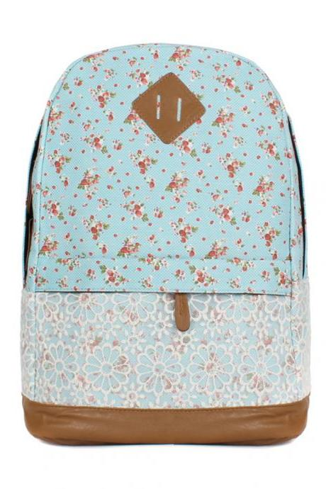 Sweet Lace Little Flowers Cotton Cloth & PU Backpack