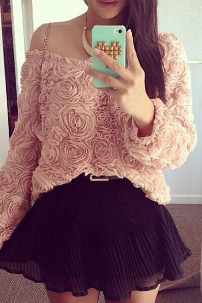 Cheap Fashion O Neck Long Sleeves Floral Solid Pink Shirt