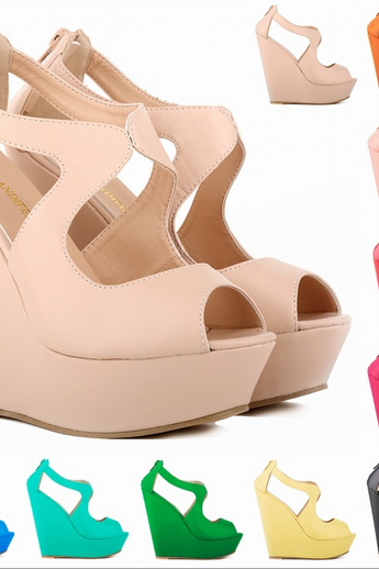 Thick bottom slope sandals high-heeled Matt PU waterproof Taiwan Shoes