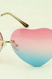 Sweet love heart pink-blue woman sunglasses