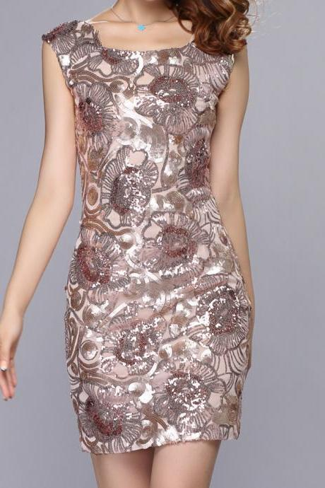 Slim Flower Pattern Design Sequined Dress