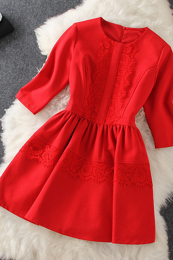 Lace Stitching 7 Quarter Sleeve Romab Dress