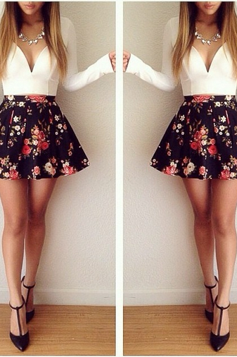 Long sleeved cut floral Mini Dress
