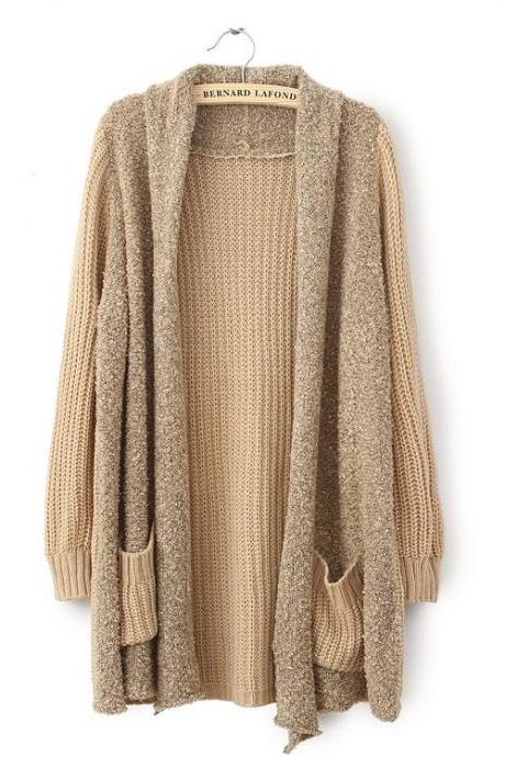 Loose Plush Knit Cardigan Sweater