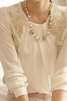 New Fashion Women's Vintage Long Sleeve Sheer Tops Lace Shirt Chiffon Blouse