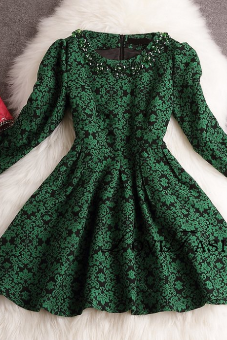 Manual nail bead jacquard new winter dress