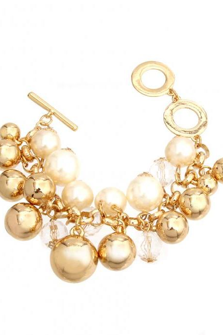Charm Bracelets, Gold Charm Bracelet with Toggle Clasp, Pearl and Balls Bracelet