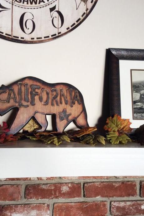 California Bear - Shelf and Mantle Decorations - Made with Cherry Wood