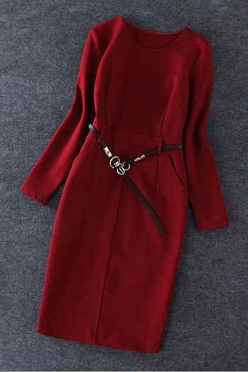 Women's new fashion temperament pure color long section fitting long sleeved dress belt