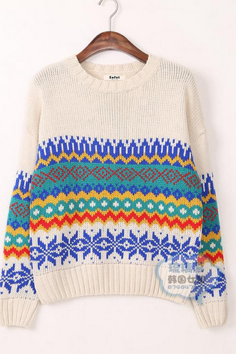 Ladies winter retro color hit color geometric pattern knit loose sleeve head of hair